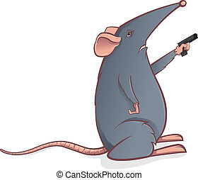 Grey mouse with a pistol - Vector illustration of mouse with...