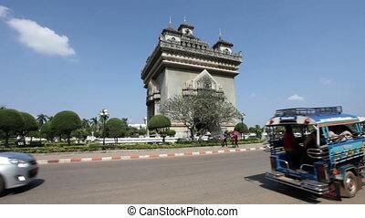 Patuxai in Vientiane, Laos - In center Vientiane, the...