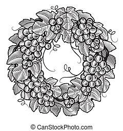 Retro grapes wreath black and white