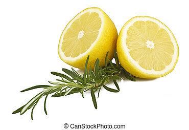 Lemon and rosemary on white