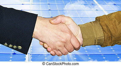 Handshake close up on light blue background