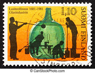 Postage stamp Finland 1981 Glass Blowing - FINLAND - CIRCA...
