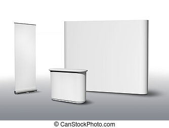 Exhibition fair stand - Blank exhibition fair stand desk and...