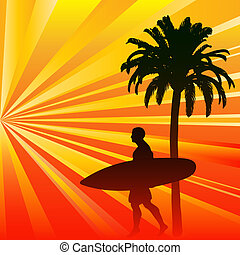 Tropical Surfer Background