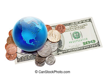 world currency - World currency. Globe view to North America...