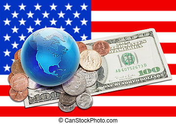 world currency - globe with money over USA banner - World...