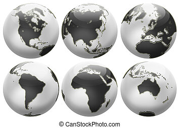 Six different positions globes isolated on white. In black...
