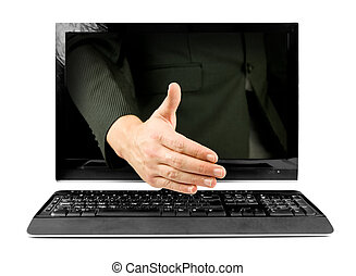 online business deal, businessman shaking hands through...