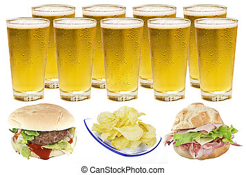 cheese burger and fries with golden beer