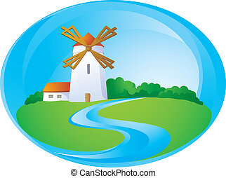 Rural background with windmill