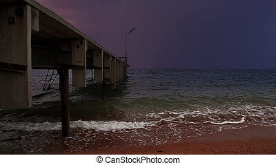 Stormy pier - Marine dock and upcoming storm