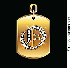 O medal in gold and diamonds vector