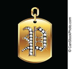 P medal in gold and diamonds vector