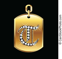 T medal in gold and diamonds vector