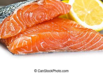 salmon fillet close up on white background