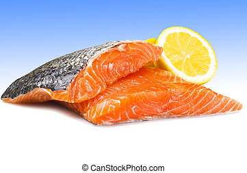 salmon fillet close up on white and light blue background