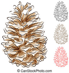 Watercolor Pine Cone - An image of a watercolor pine cone
