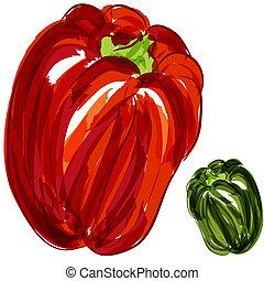 pimentas, verde, vermelho, sino