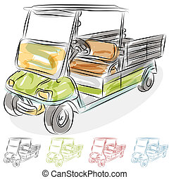 Watercolor Golf Cart - An image of a watercolor golf cart