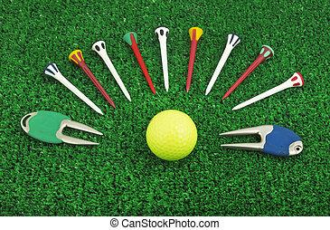 Photo, golf, ensemble, accessoire