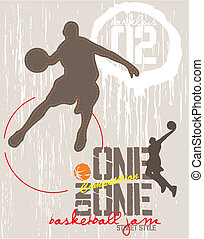 one on one basketball - illustration for print and poster
