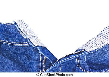 blue jeans whit zip open