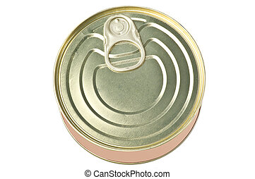 Can of tuna on white