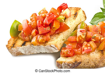 fresh bruschetta with tomato ,olive oil ,garlic and oregano