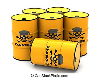 Barrels for storage of hazardous substances on a white...