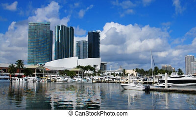 Bayside in Miami - View on to the skyline of Miami from...