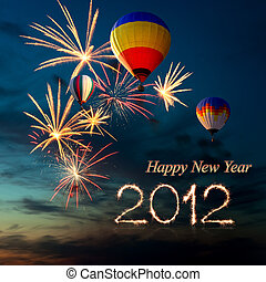 New year 2012 fireworks and hot air-balloon at sunset - New...