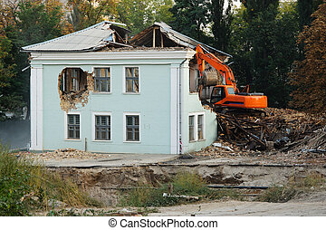 Demolition of an old house for reconstruction