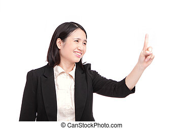 Business woman points out her finger