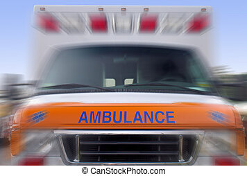 Front view of a speeding ambulance - emergency vehicle