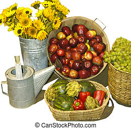 A pictorial garden harvest of grapes_apples_ sunflowers_...