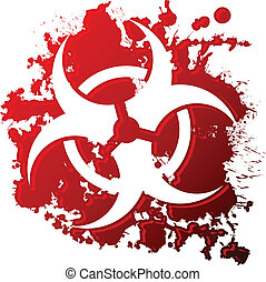 Bio hazard blood - A biohazard symbol reversed out of a...