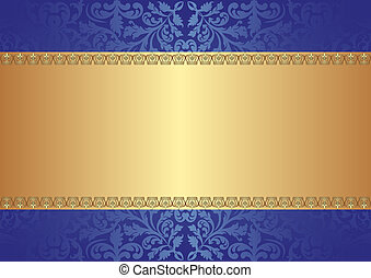 gold blue background with ornaments