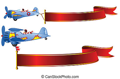 flying banners - two retro airplanes decorated with flames...