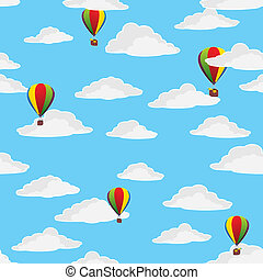 balloons in the cloudy sky
