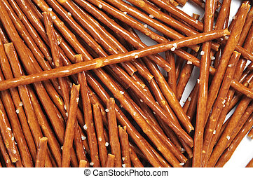 pretzel sticks - closeup of a pile of pretzel sticks