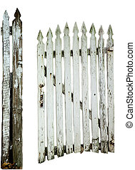 Old white picket gate and fence post with peeling paint