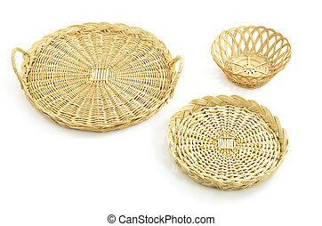 Wicker trays, basket - Woven wicker round trays and basket...