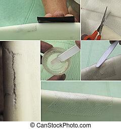 Surfboard repair set - Process of preparation and repair of...