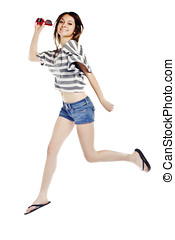 Full length studio shot of sexy young girl jumping in joy  - Isolated on white background