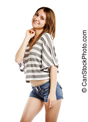 Sexy young caucasian female on white background