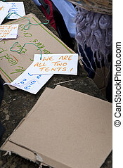 Cards written out by Occupy Exeter activists during the...