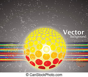Abstract colorful lines with glowing ball on grunge background