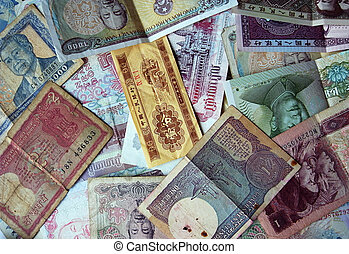 Asia notes mix - Asia money - various notes background