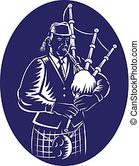 Bagpiper Playing Scottish Great Hig - Illustration of a...