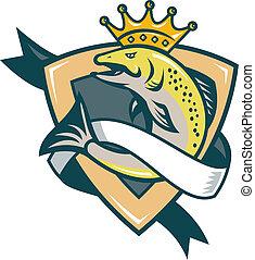rei, salmão, peixe, Pular, escudo